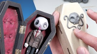 Turning a $2 Coffin into a TIM BURTON Style MOVIE PROP - Polymer Clay Timelapse Tutorial