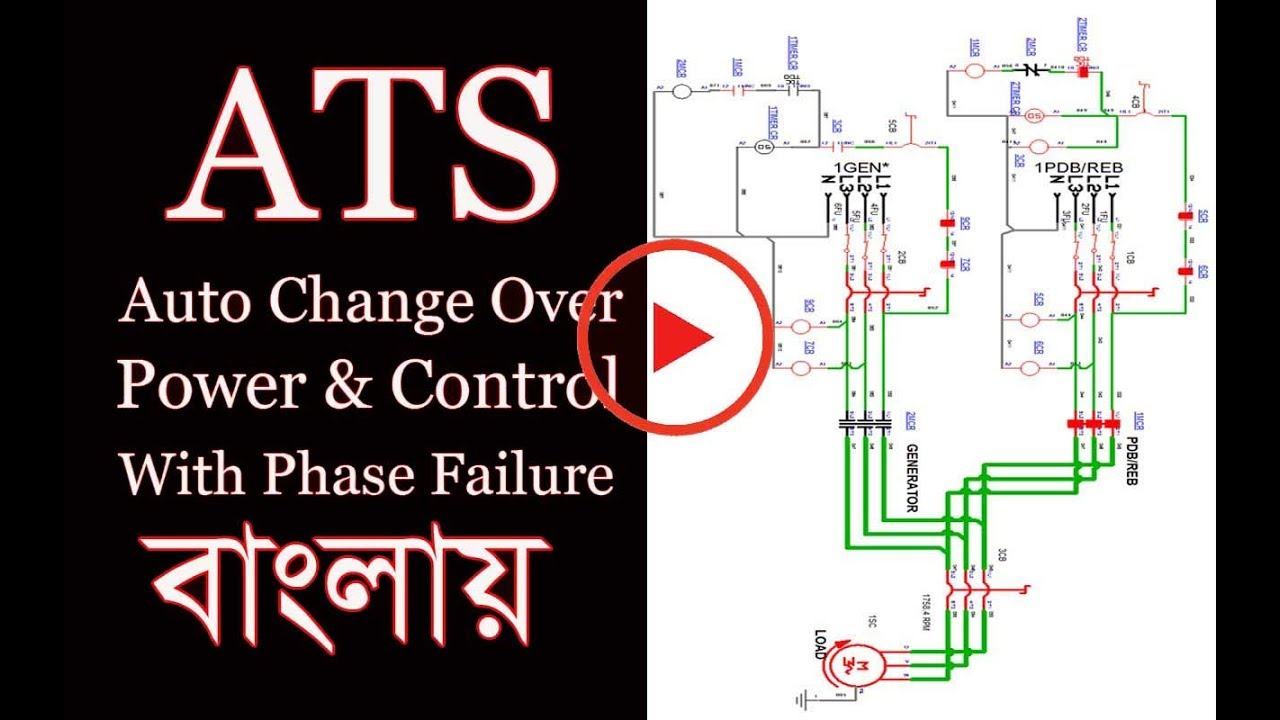 ats-auto transfer switch power & control diagram | auto change over power &  control circuit✓✓✓