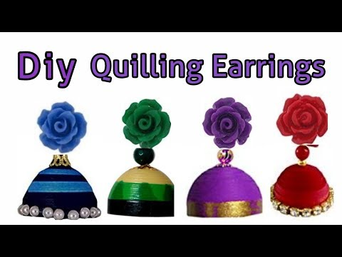 Diy || Quilling jhumka and rose stud making at home || Easy quilling earrings ||
