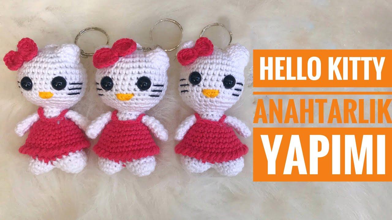 AMIGURUMI Hello Kitty Anahtarlık Yapımı( Amigrumi Hello Kitty Keychain Tutorial) ENG SUBS ON)