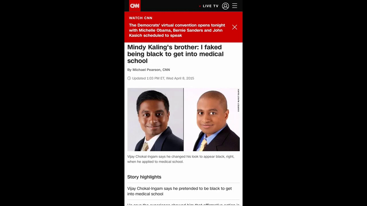 Actress Mandy Kaling S Brother Dress As A Black Man To Get Into Medical School Youtube