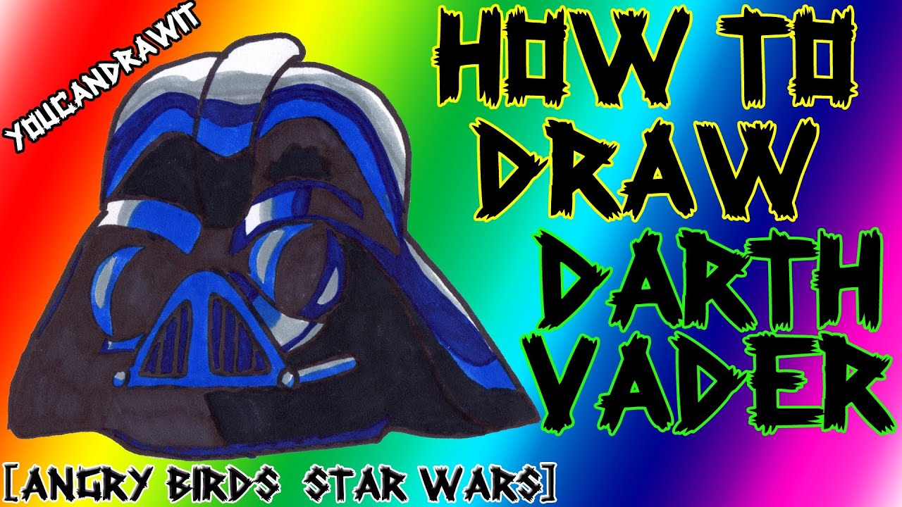 how to draw darth vader pig from angry birds star wars