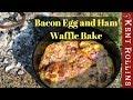 Easy Camping Breakfast - Bacon Egg and Ham Waffle Bake