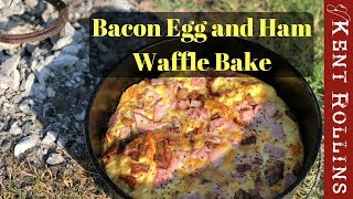 Easy Camping Breakfast - Bacon Egg and Ham Waffle Bake