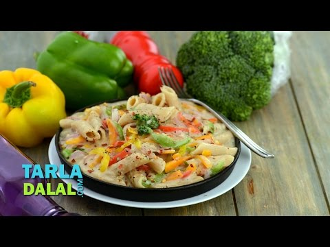 Whole Wheat Pasta In Low Calorie White Sauce (Healthy Heart Recipe) By Tarla Dalal