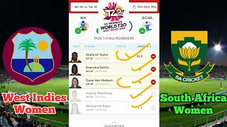 WI-W vs SA-W Dream 11 | West Indies vs South Africa | ICC women's world T20 2018