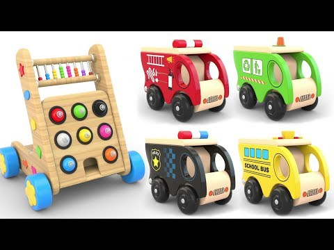 Thumbnail: Learn Coors with Wooden Hammer Street Vehicles Toys - Toy Cars for KIDS