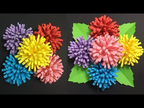 How to Make Flower with Colored Paper   Making Paper Flowers Step by Step   DIY-Paper Crafts
