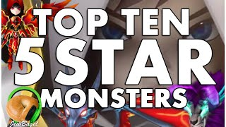 SUMMONERS WAR : TOP 10 NATURAL 5 STAR MONSTERS!!!