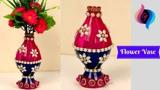 Plastic Bottle Flower Vase Craft Ideas - Flower Vase Made With Recycled Plastic Bottle and Beads