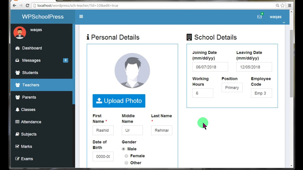 School management system with wpschoolpress wordpress plugin