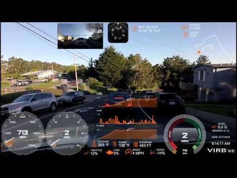Garmin Virb XE As Dash Cam - Front & Rear, OBDII And GPS Overlays (Timelapsed)