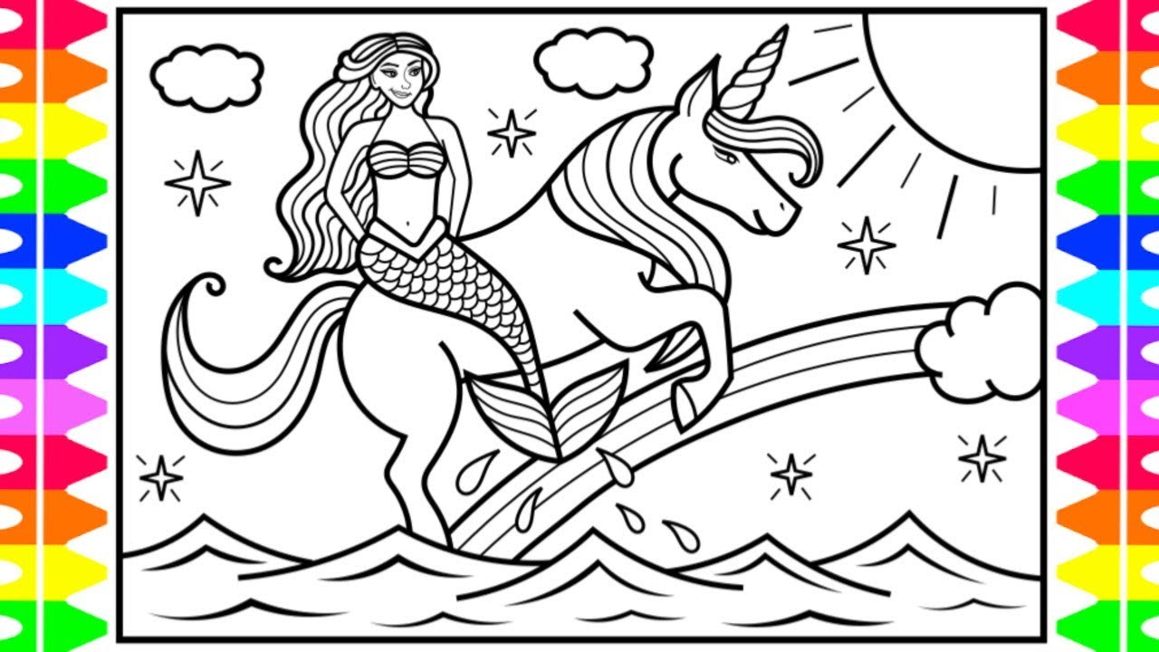 It's just a photo of Invaluable Unicorn And Mermaid Coloring Pages