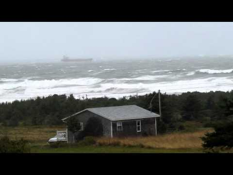 ship in storm margaree harbour & belle cote october 6 ,2011