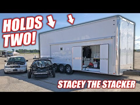 """We Bought a Used 2-Car STACKER Trailer! Introducing """"Stacey the Stacker"""" (SHE'S TALL!)"""