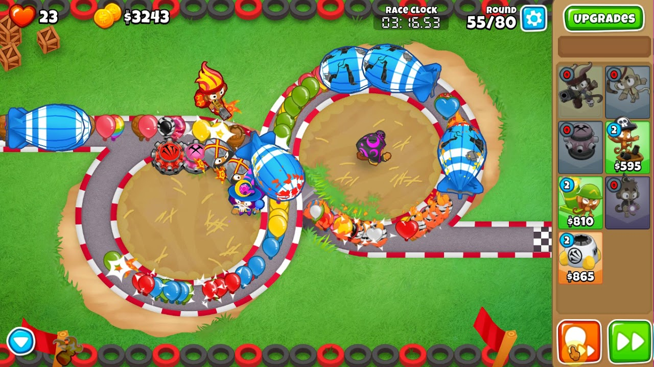 Bloons TD 6 Burning Rubber race in 7:58 (read description)