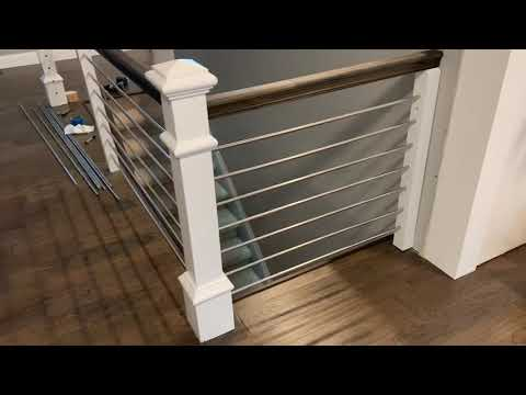 Horizontal stainless railing installation, home improvement project