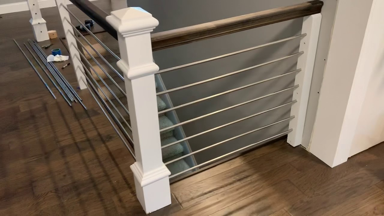 Horizontal Stainless Railing Installation Home Improvement   Iron Pipe Stair Railing   90 Degree Stair   Simple Pipe   Box Pipe   Reclaimed Wood Stair   Thin Metal