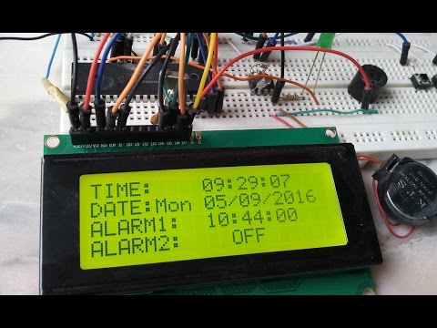 Real Time Clock with 2 Alarms using PIC16F877A and DS1307