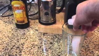 Making Iced Coffee with Nespresso Inissia Aeroccino Plus Steel Milk Frother and kahlua