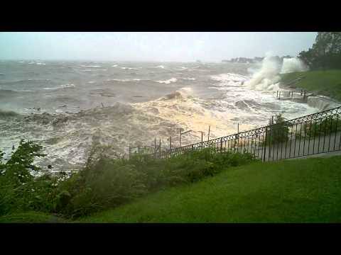 Irene Hits Branford CT Seawall destroyed Pine Orchard