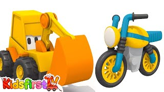 Car cartoon and kids games. Excavator Max and motorbike. Hide and seek games for kids.
