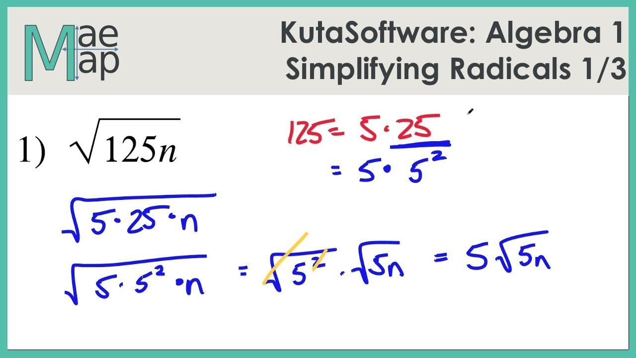 KutaSoftware: Algebra 1- Simplifying Radicals Part 1
