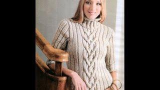Женский Джемпер с Косами Спицами - 2019 / Women's Sweater With Braids Spokes / Frauen Pullover