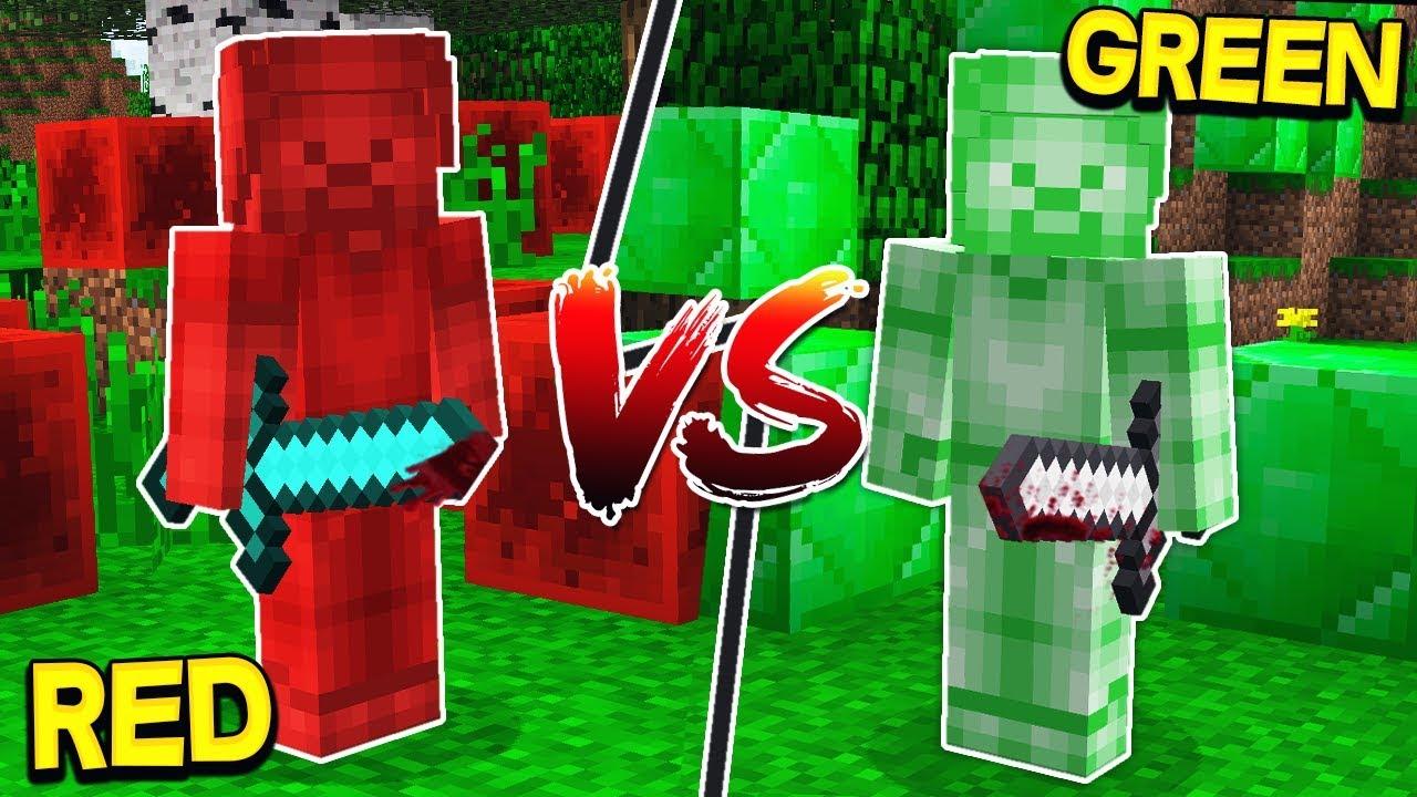 RED STEVE VS GREEN STEVE! - MINECRAFT