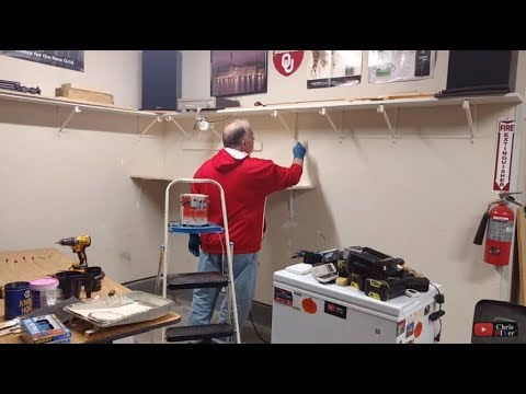 LIVE - DIY garage wall painting / new shelf / new LED lights too!