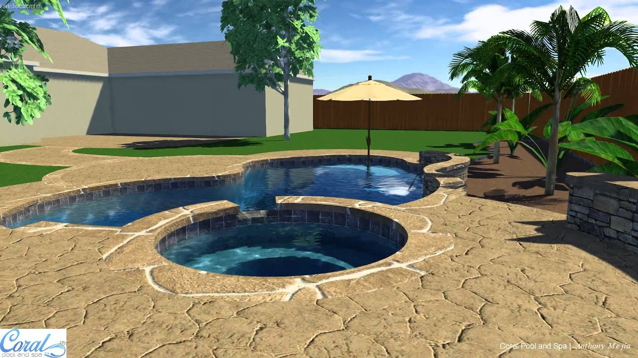 Pool and spa with raised bond beam water features youtube - Fibreglass swimming pool bond beam ...
