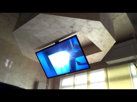 Motorized silent ceiling flip fold down lift tv 55 39 39 m for Motorized ceiling drop down tv mount