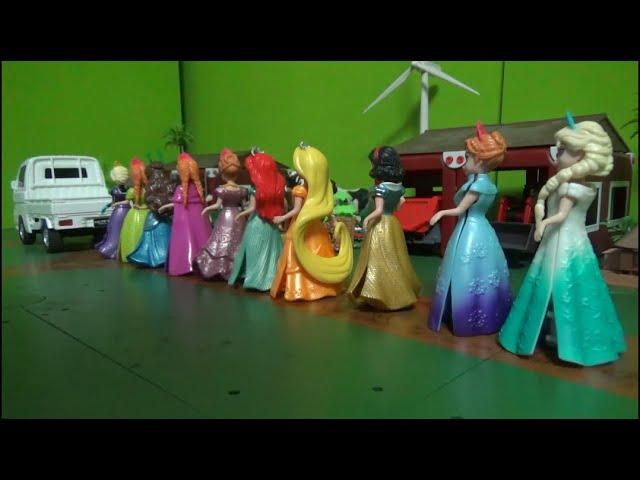 겨울왕국 엘사 10명 디즈니 공주 트럭타기 장난감 Frozen Elsa 10 Disney Princess ride Truck Toys