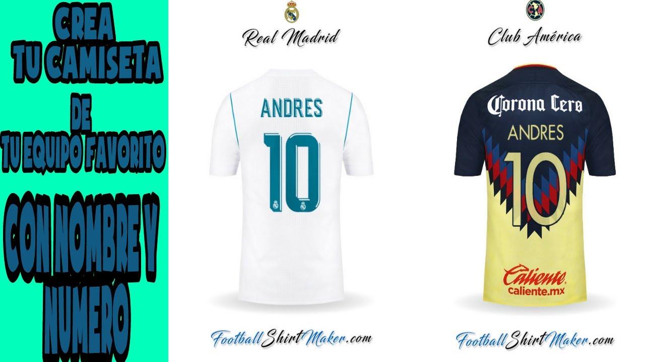 c73eee43876 Crear camiseta de futbol con nombre y numero - YouTube