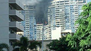 Huge fire in Honolulu, Hawaii apartment high rise