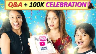 100k Subscribers Celebration l questions & Answers l Funny Story For Kids l Ayu And Anu Twin Sisters