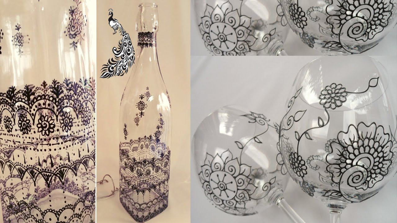 Glass Bottle Painting Images