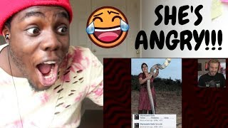 She's angry because I made fun of her... by PewDiePie REACTION!!!