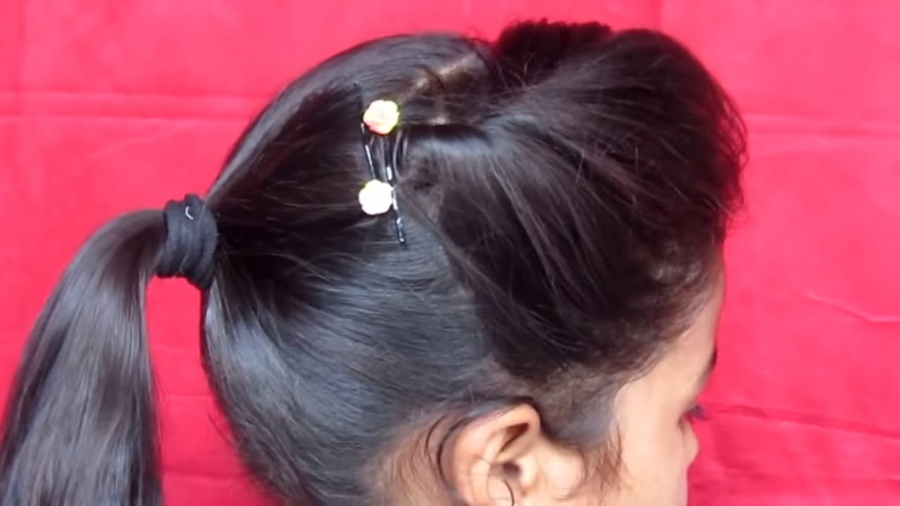small girls hair style side puff with ponytail hairstyle small hairstyle 5845 | maxresdefault