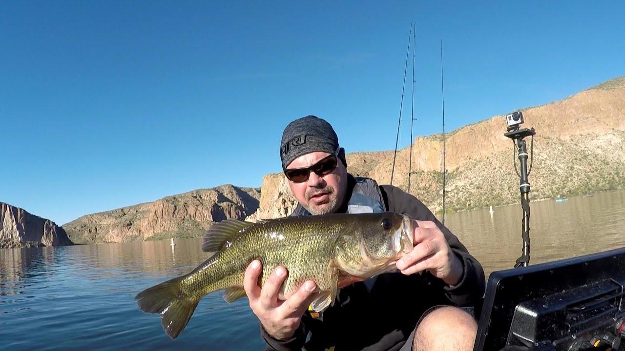 Kayak bass fishing canyon lake az wintertime youtube for Bass fishing az