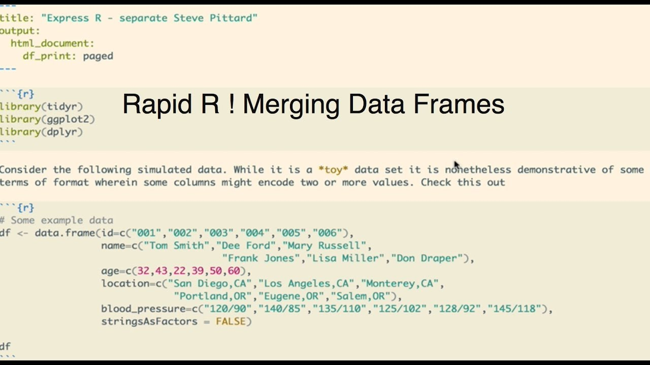 Rapid R - Merging Data Frames Using Join Functions - YouTube