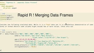 Rapid R - Merging Data Frames Using Join Functions