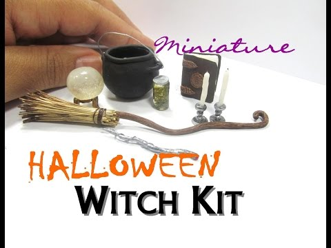 Halloween Witch Items Polymer Clay Resin Dollhouse Miniature How To  DIY Tutorial