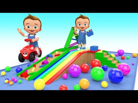 Baby Learn Colors With Wooden Toy Slider Marble 3D Balls Col