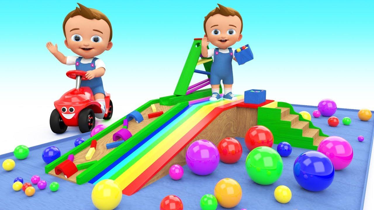 Marble Color Balls Slider Wooden Toy Set Learn Colors