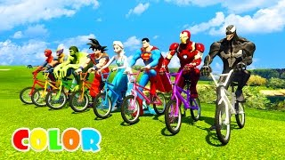 COLOR BMX JUMP Superhero in Golf park! Funny cartoon for kids and babies!