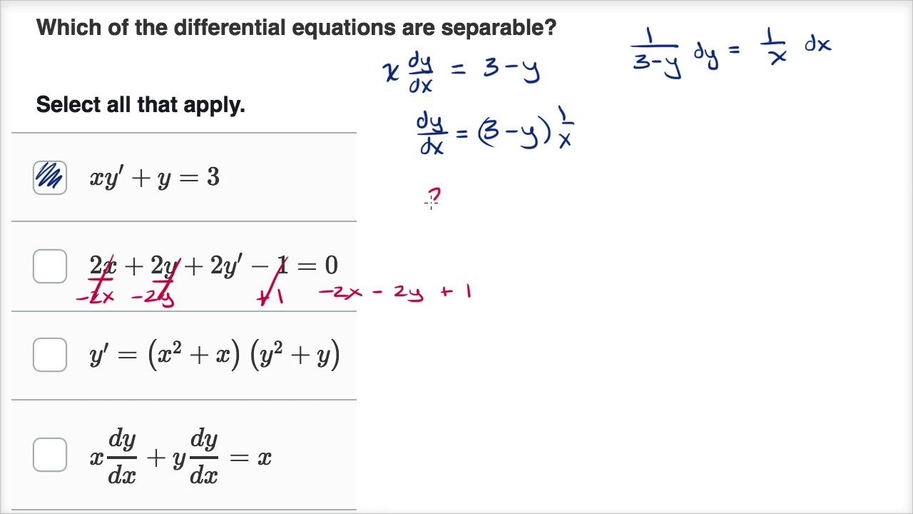 Worked example: identifying separable equations (video) | Khan Academy
