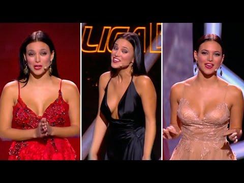 Los 3 ESPECTACULARES escotes de ELISA MOULIAÁ, presentadora Gala PREMIOS de la LIGA 2015