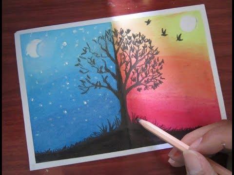 Vẽ tranh ngày và đêm bằng sáp dầu
