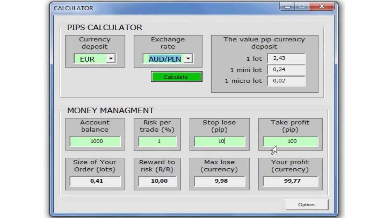 Forex money management calculator